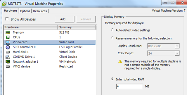 Insufficient video RAM with Virtual Machine – PepperCrew