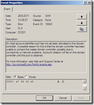 An initial account-identifier pool has not yet been allocated to this domain controller. A possible reason for this is that the domain controller has been unable to contact the master domain controller, possibly due to connectivity or network problems. Account creation will fail on this domain controller until the pool is obtained