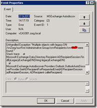 """Unhandled Exception """"Multiple objects with legacy DN were found."""""""