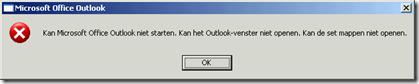 Kan Microsoft Office Outlook niet starten. Kan het Outlook-venster niet openen. Kan de set mappen niet openen