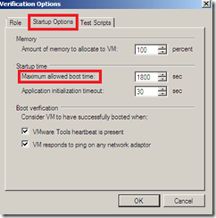 Veeam SureBackup edit virtual machine  startup options