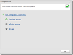 Popup configuration wizard veeam business view