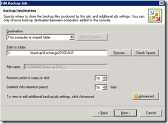 Veeam back-up wizard 4 destination