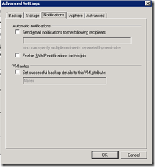 Veeam back-up wizard advanced settings 3