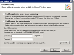 Veeam back-up wizard 6 VSS