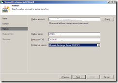 Veeam Restore wizard mailbox account