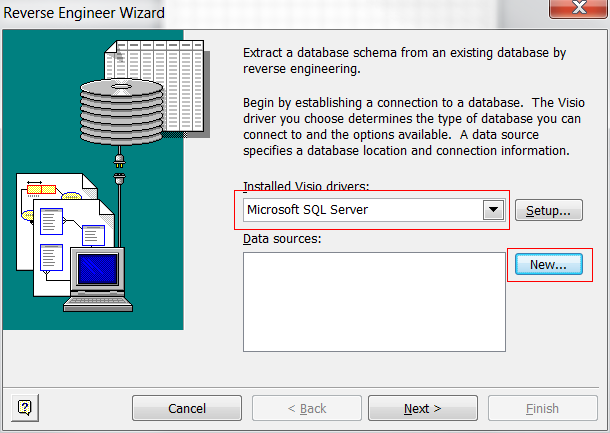 Reverse and forward engineering databases in visio 2010 peppercrew in the reverse engineering wizard select the microsoft sql server driver and add a data source with the new button pronofoot35fo Choice Image