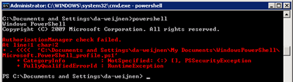 AuthorizationManager check failed.| At line:1 char:2 | Microsoft.PowerShell_profile.ps1'