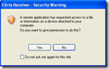 Citrix Receiver - Security Warning