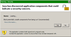 Java has discovered application components that could indicate a security concern