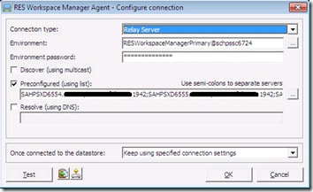 RES Workpsace Manager Agent - Configure connection