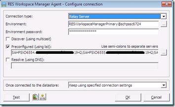 RES Workpsace Manager Agent - Configure connection
