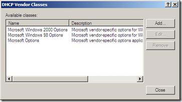 Microsoft DHCP Server - Vendor Classes #2
