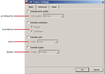 Printer Settings - Basic