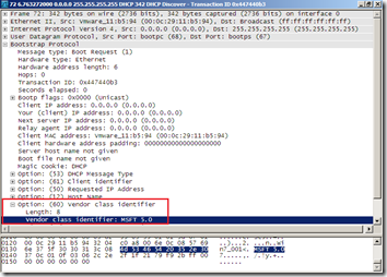 Wireshark - DHCP Discover - 60