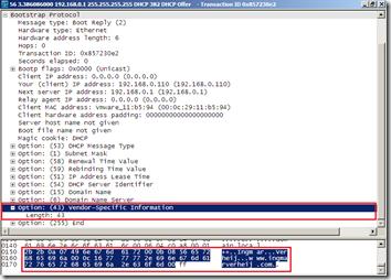 Wireshark - DHCP Offer - 43