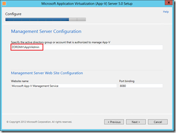 Microsoft Applicaton Virtualization (App-V) Server 5.0 Setup