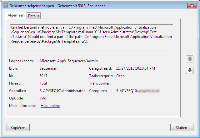 Microsoft App-V 5 0 SP1 Sequencer error while saving package