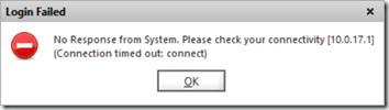 Login Failed - No Response from System. Please check your connection. (Connection timed out: connect)
