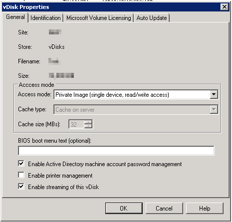 How to check if an Citrix PVS vhd is in private access mode