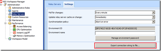 Administration - Relay Servers - Settings - Export connection string to file