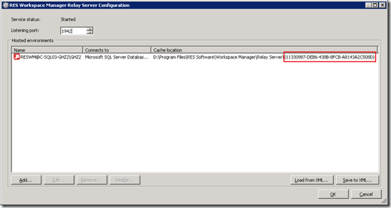RES Workspace Manager Relay Server Configration - GUID