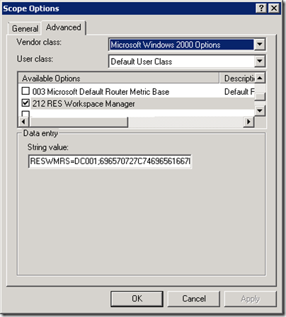 Scope Options - 212 RES Workspace Manager