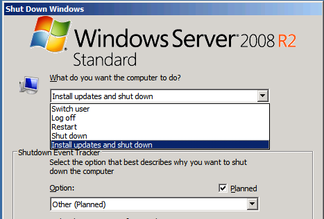 The Default Selected Option Is Install Updates And Shutdown But We Can Easily Choose Shut Down Enter Proper Information
