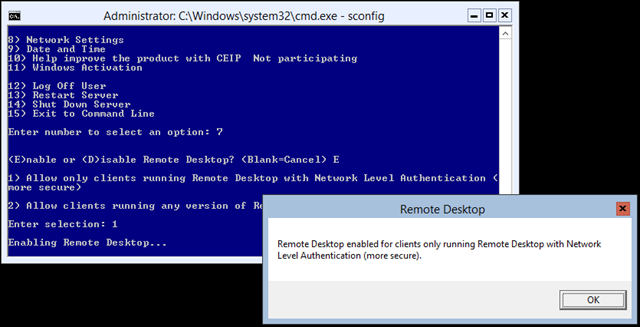Managing Hyper-V 2012 R2 core server remotely in a Workgroup