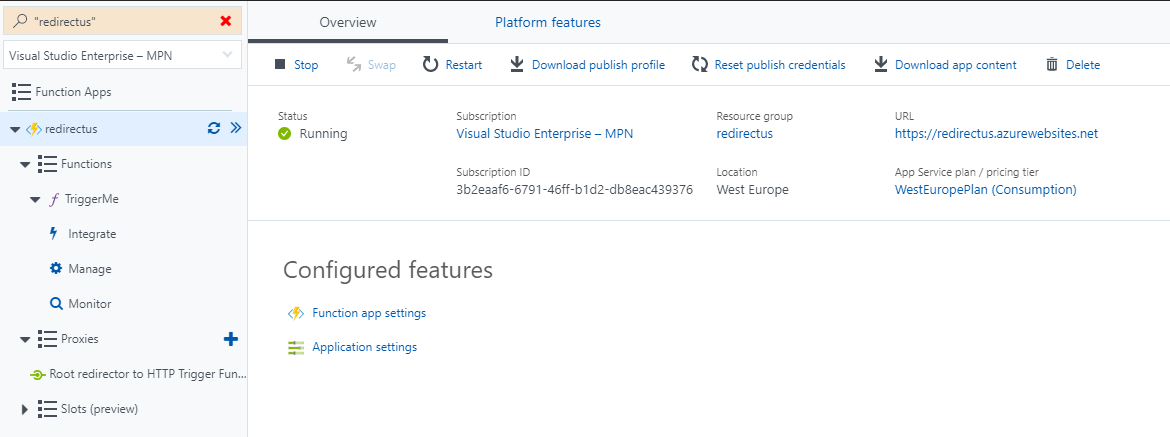 Overview and Platform features of your Azure Function App