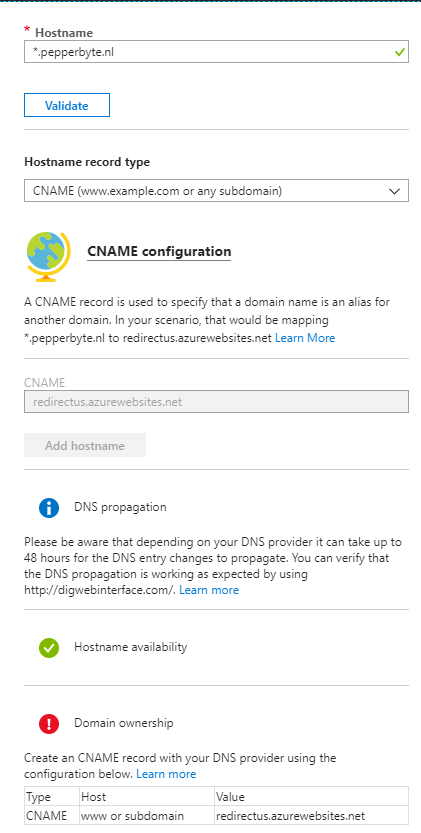 Add your CNAME at your DNS registrar and validate