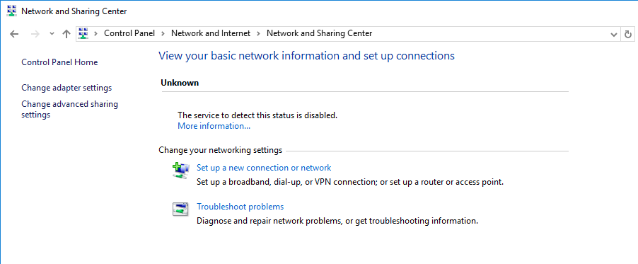 Network and Sharing center the service to detect this status is disabled